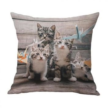 Cute Cartoon Animal Printing Cotton Linen Decorative Pillow Home Bedroom Bedside Backrest Creative Cat Cushion