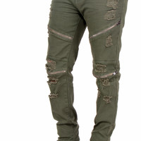 Flex Stretch Distressed Biker Denim Zipper Jeans
