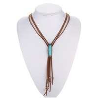 Leather Tassel Necklace Western Bolo Tie Tribal Necklace Boho Hippie Indian Native American Jewelry Navajo Online Shops India