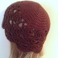 Brown Cloche Hat, Crochet Hat for Women