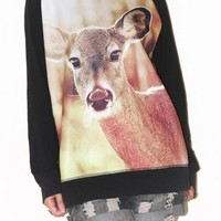 Deer Fawn Animal Sweater Long Sleeve Black Indie Rock Shirt Size L