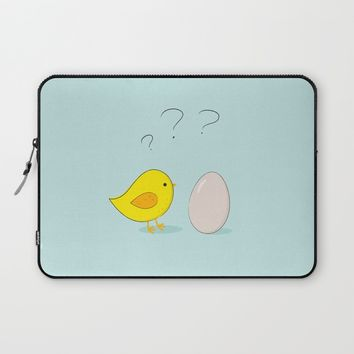 The chicken or the egg Laptop Sleeve by EDrawings38 | Society6