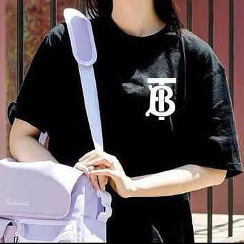 BURBERRY Hot Sale Letter Print T-Shirt Top Tee Blouse Black