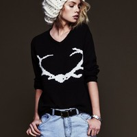 For Love & Lemons Knitz Antler Sweater in Black