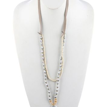 Pearl Two-Layer Arrowhead Glass Bead  Strand  Necklace