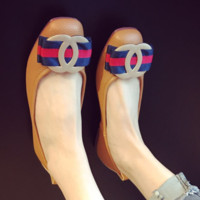 CHANXEL New Fashion Hot Flat Metal Agio Bow Knot Red And Navy blue Stripe Shoes Single Shoes Brown