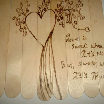 Love is Sweet Rustic Wood Burned Hearts Love Quote Wall Art Can Be Engraved with Names and Dates Wedding Anniversary Engagement Gift Idea