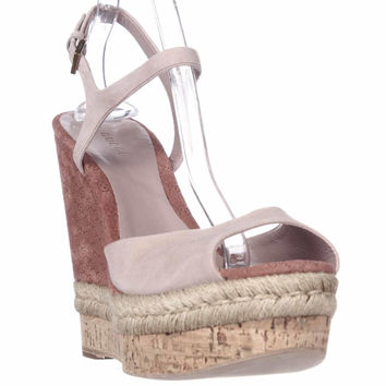 Gucci C2000 Cork Espadrille Wedge Platform Ankle Strap Sandals, Dark Cipria, 11 US / 41 EU