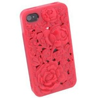 RED 3D Sculpture Rose Flower for iPhone 4 4S 4G Hard Plastic Cover Case