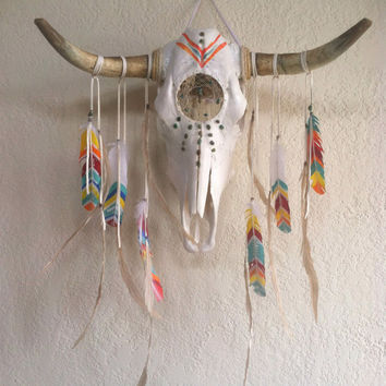 Custom Dream catcher skull // design your own,  zodiac, steer,  bull, skull, crystal, feather, home, decor, southwest, wal