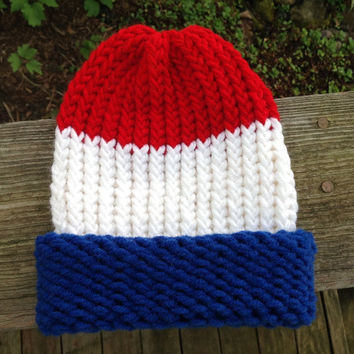 Red White And Blue American USA Patriotic Knitted Baby Infant Winter Hat