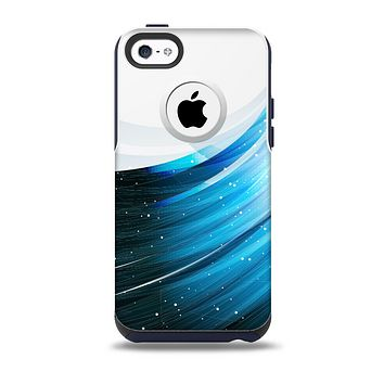 The Black and Blue Highlighted HD Wave Skin for the iPhone 5c OtterBox Commuter Case