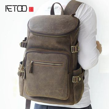 AETOO trend of multi-functional large-capacity practical travel leather bag retro