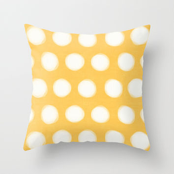 painted polka dots- yellow Throw Pillow by her art