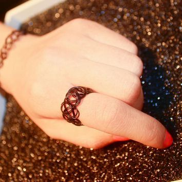 R290 Stretch Tattoo Finger Rings Punk Retro Gothic Elastic Ring For Women Anillos Fashion Jewelry Anel Bijoux