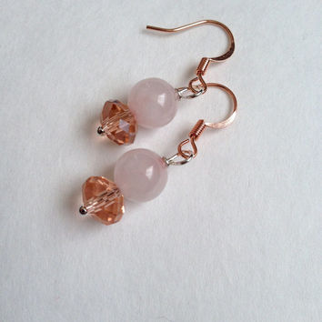 Rose Quartzl and Crystals Earrings - Pink Earrings