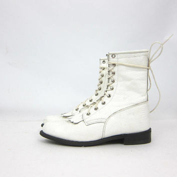 Lace Up Leather Capezio ROPERS 80s White Leather Fringe Boots Western Riding Boots Country Southwestern Ankle Boots Women's Size 7