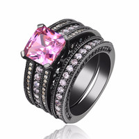 Black Gold Plated Dual Pink Stoned Dual Ring Set Wedding Love Jewelry Special Edition