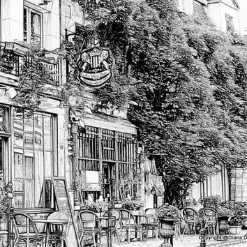 Sketch- Parisian Cafe- Paris France Sketch 8x10 Drawing, sidewalk, cafes, coffee, paris, france, ink drawings