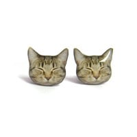 Cute Sleeping Lazy Cat Kitten Stud Earrings - A14E84