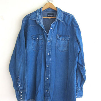 Best vintage wrangler shirt products on wanelo for Mens shirts with snaps instead of buttons
