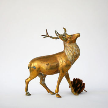 Vintage Brass Deer Figurine Large Stag Woodland Animal Christmas Winter Home Decor Gold Golden Cozy Statue Turquoise Patina Christmas Decor