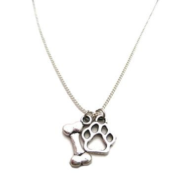 Paw Claw Bone Heart Pendant Necklace  for Dog Parents Animal Lovers Gifts