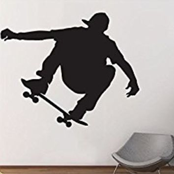 Wall Decal Vinyl Sticker Decals Art Decor Design Skater Skate Man Jumping Sport Extrime Kids Children Gift Play room Game Bedroom (r773)