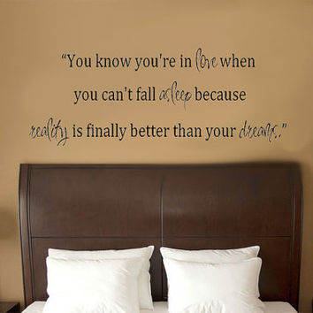 You know you're in love when.. Dr Seuss Quote Vinyl Wall Decal Sticker Art