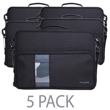 (5-Pack) Targus TKC003 Work-in Polyester Hard-Sided Shell Case for 11.6 Chromebook w-Shoulder Strap (Black)