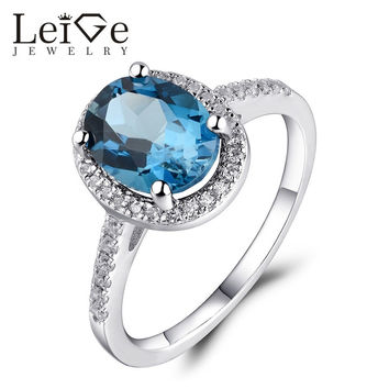LEIGE JEWELRY LONDON BLUE TOPAZ ENGAGEMENT RING STERLING SILVER GEMSTONE RINGS FOR WOMEN WEDDING ANNIVERSARY GIFT OVAL CUT