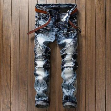 Designer Men Jeans Biker Skinny Blue Slim Fit Punk Distressed Ripped Straight Hip Hop Pants Trousers Man Jeans Streetwear