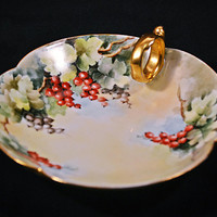FREE SHIPPING Antique T&V Limoges France, Tressemann And Vogt, Candy Dish, Handled Mint Dish, Trinket Plate