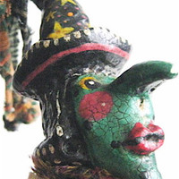 "OOAK Primitive Folk Art Witch- ""RUBY REDLIPS""---Handcrafted Storybook Witch with original hand-stitched verse, frog, broom and moon."