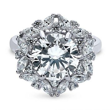 A Vintage Floral Style 3.6CT Round Cut Halo Russian Lab Diamond Engagement Ring