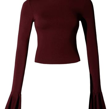 LE3NO Womens Fitted Stretchy Modal Bell Long Sleeve Crop Top (Made in USA)