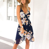New Summer Women Boho Floral Chiffon Beach Sundress Mini Dress
