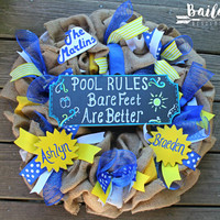 pool wreath, summer wreath, pool rules, pool sign, swim team wreath, sunshine wreath, blue and yellow wreath, beach wreath, hotel wreath,