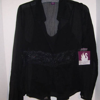 Rich Black Silky Sheer Blouse Set Gloria Vanderbilt Size M-L Blouse Beaded on Lace Accented  Waist  Over Sheer Camisole Wedding Evening Wear