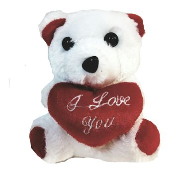 "White Plush Teddy Bear Keychain 6"" Cuddly I Love You Talking Toy"