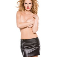 Faux Leather Zipper Skirt Black Sm