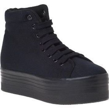 Jeffrey Campbell Homg Platform Sneaker Black Canvas - Jildor Shoes, Since 1949