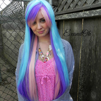 ON SALE // Blue Pink and Purple Cotton Candy / Thick Beautiful Luscious Hair - Long Straight Layered Wig MLP Cosplay