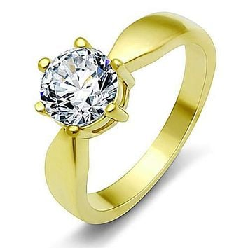 WildKlass Stainless Steel Solitaire Ring IP Gold(Ion Plating) Women AAA Grade CZ Clear