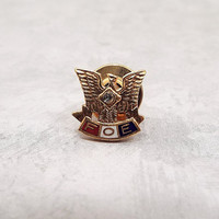 Vintage Tie Tack, Fraternal Order of Eagles, FOE Pin, Gold Tone, Enameled Tack Pin, Red White and Blue, Rhinestone Eagle, Lapel Pin