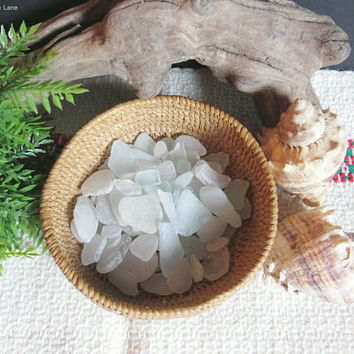 Bulk Lot of Sea Glass, Beach Glass, Frosted White / Clear / Pale Blue