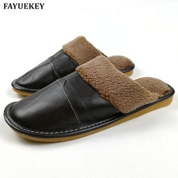 FAYUEKEY New Fashion Winter Leather Home Slippers Men Indoor\ Floor Outdoor Slippers Warm Cotton Plush Non-slip Flat Shoes