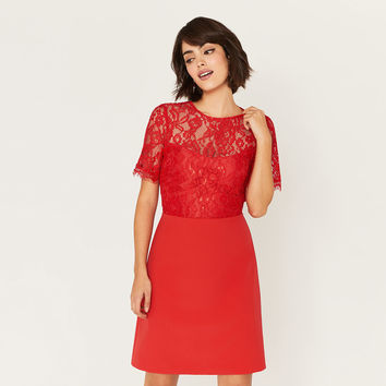 LACE BODICE SHIFT DRESS LONG