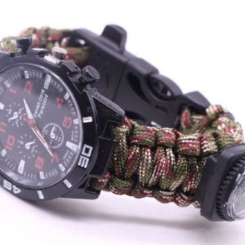 ac NOVQ2A Outdoor umbrella rope braided Flint compass watch outdoor multi-purpose seven-core umbrella rope braided watch