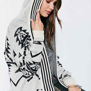 Ecote Jacquard Hooded Cardigan Sweater- Black & White
